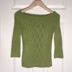 Dolce Vita Green Cable Knit 3/4 Sleeve Sweater
